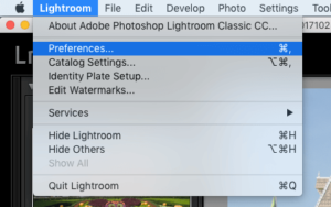 MAC Open Lightroom Preferences